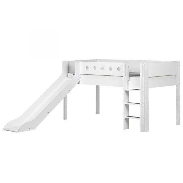 Flexa White Mid-High Bed Straight Ladder & Slide