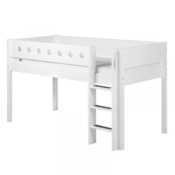 Flexa White Mid-High Bed Straight Ladder