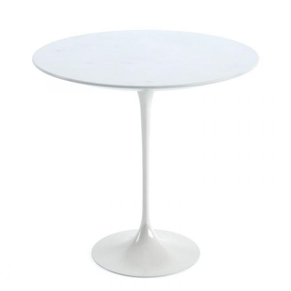 Knoll Saarinen Side Table 51cm White Base White Marble