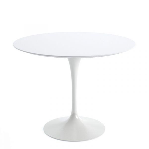Knoll Saarinen Round Dining Table 91cm White Base White Laminate Quickship