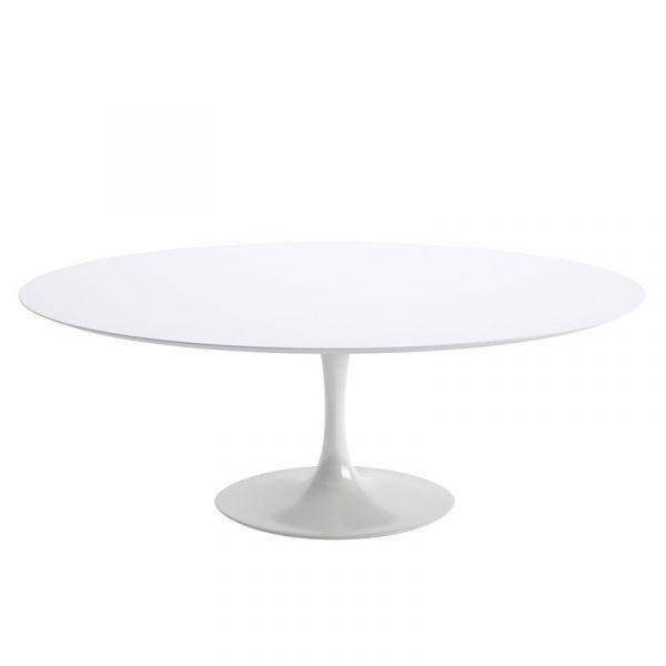 Knoll Saarinen Oval Dining Table 198x120cm White Base White Laminate