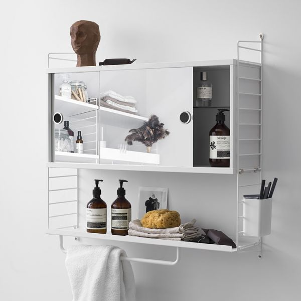 String System Bathroom Cabinet With Mirror Doors White