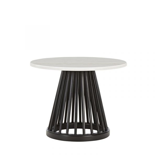 Tom Dixon Fan Table Black Base White Marble Top 600mm