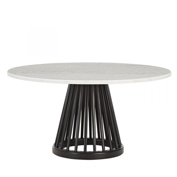 Tom Dixon Fan Table Black Base White Marble Top 900mm
