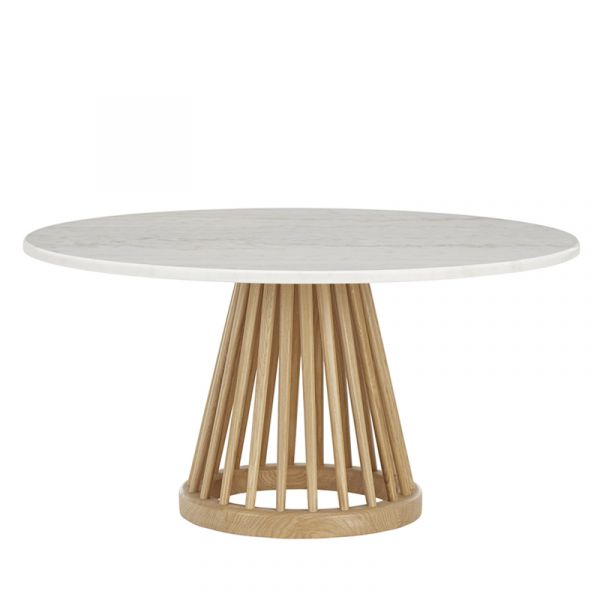 Tom Dixon Fan Table Natural Base White Marble Top 900mm