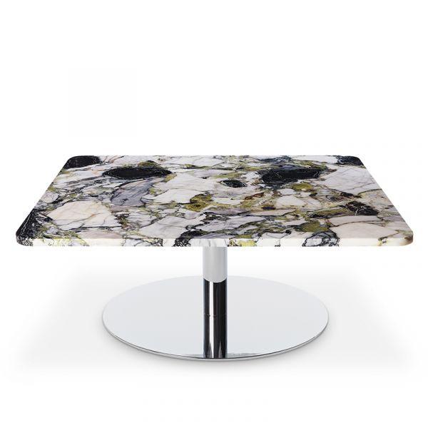 Tom Dixon Flash Table Square Chrome Base Primavera Marble