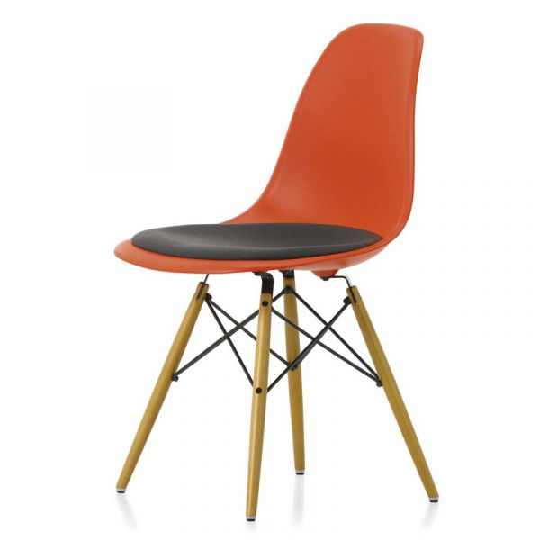 Vitra Eames DSW Chair With Fabric F60 Seat Upholstery Maple Base