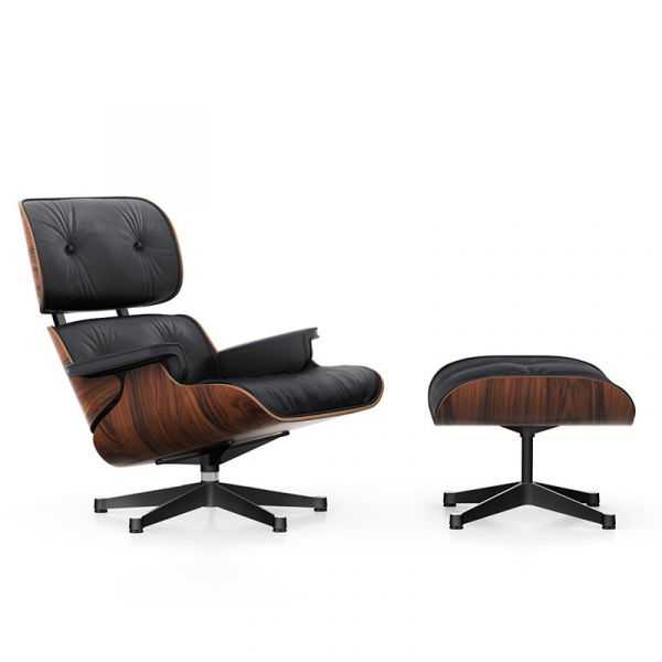 Vitra Eames Lounge Chair & Ottoman Santos Palisander Base Polished Sides Black Leather Natural 66 Nero