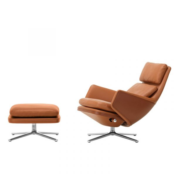 Vitra Grand Relax Lounge Chair & Ottoman Leather Cognac Leather Low Base