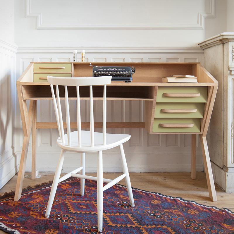 Ethnicraft Mr Marius Origami Desk Olive Drawers