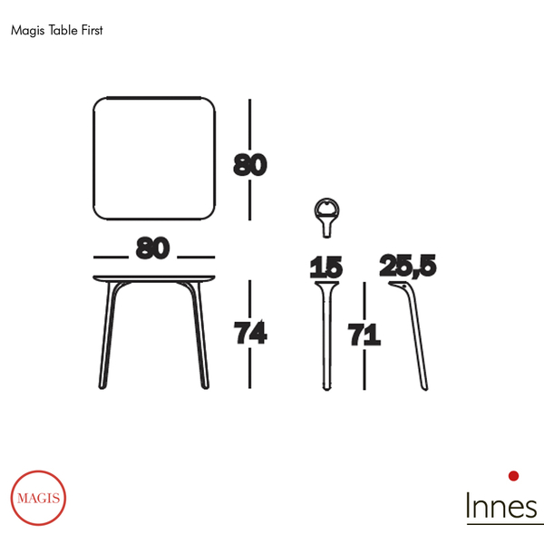 Magis table first dining table square 80x80cm for Magis table first