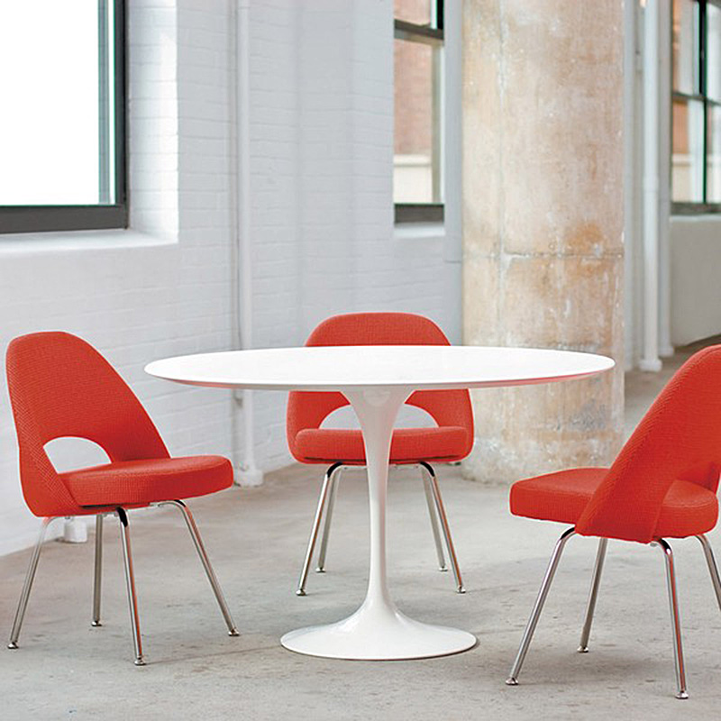 Home Knoll Saarinen Round Dining Table 107cm White Base