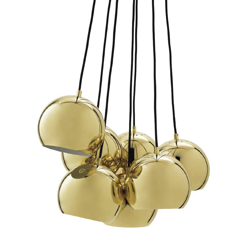 Frandsen Ball Multi Pendant Light Brass