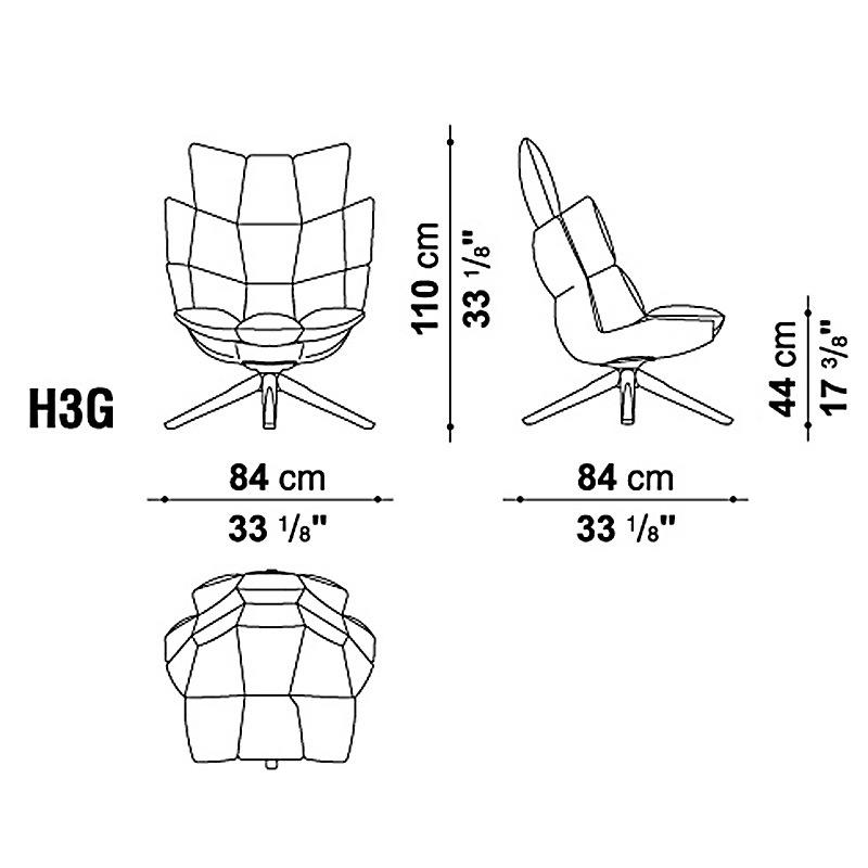 B Amp B Italia H3g Husk Swivel Armchair Snug Sides Headrest